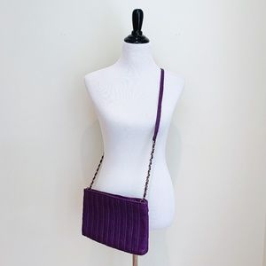 Retro 80's Purple Genuine Leather Crossbody Bag